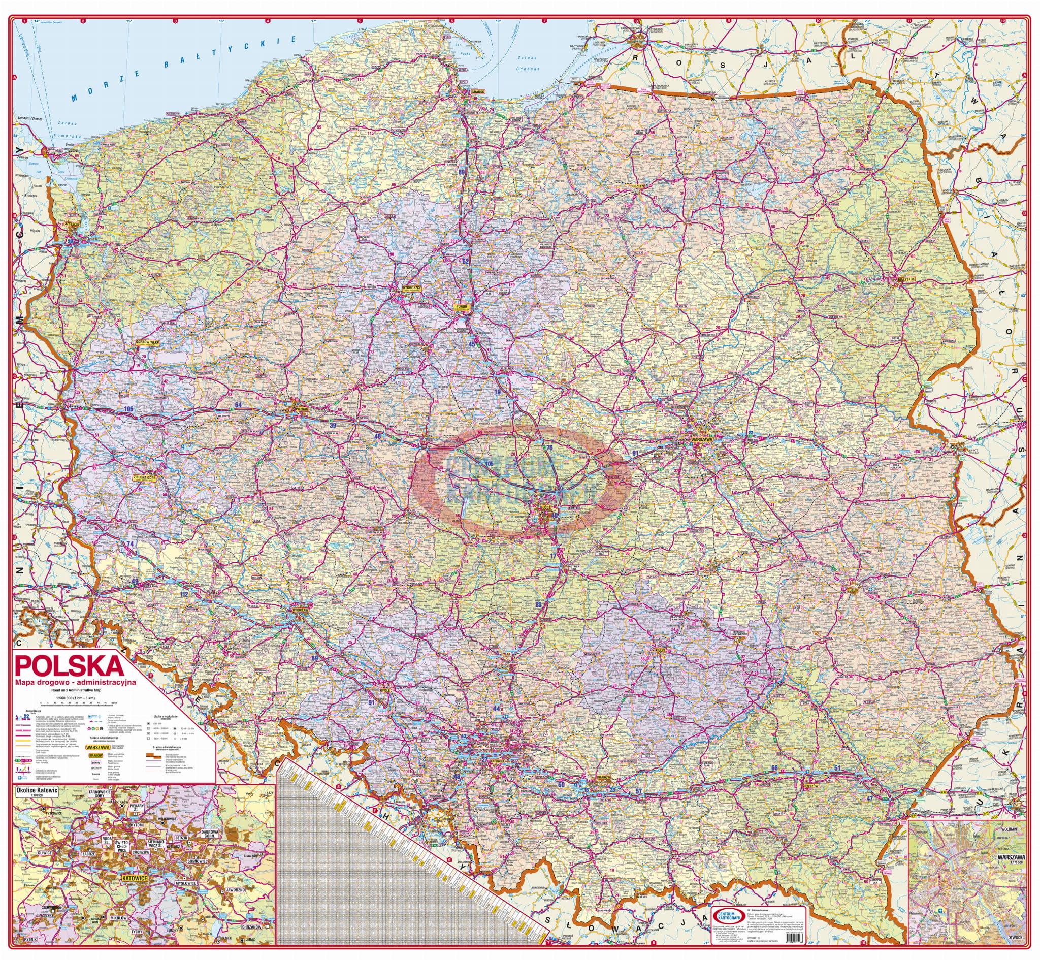 Zaktualizowano Polska drogowo-administracyjna 1:500 000. Mapa ścienna CENTRUM HP14