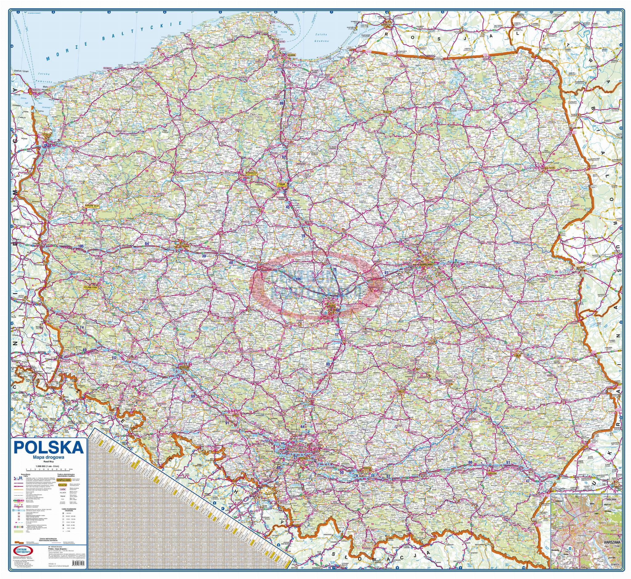 Polska Drogowa 1 500 000 Mapa Scienna Centrum Kartografii