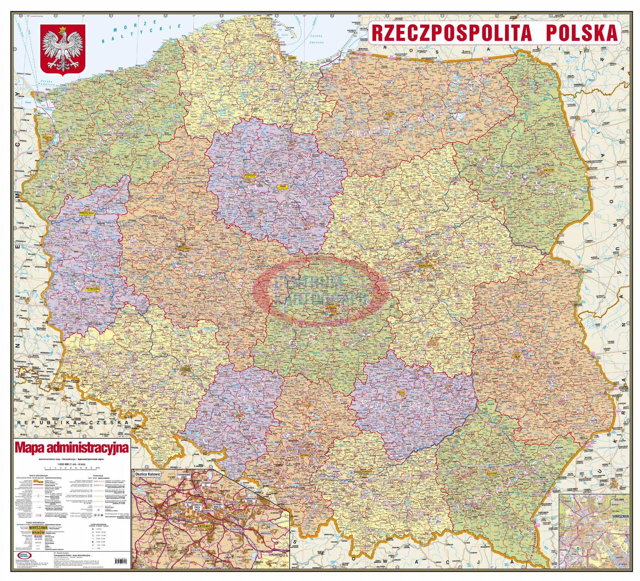 Polska Administracyjna 1 600 000 Mapa Scienna Centrum Kartografii