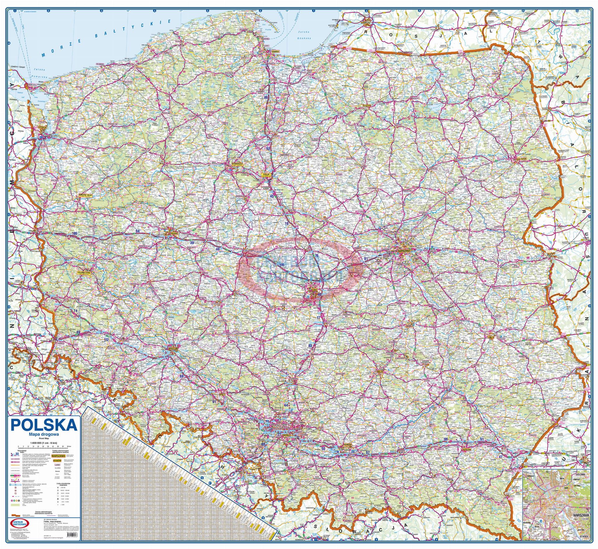 Polska Drogowa 1 600 000 Mapa Scienna Centrum Kartografii