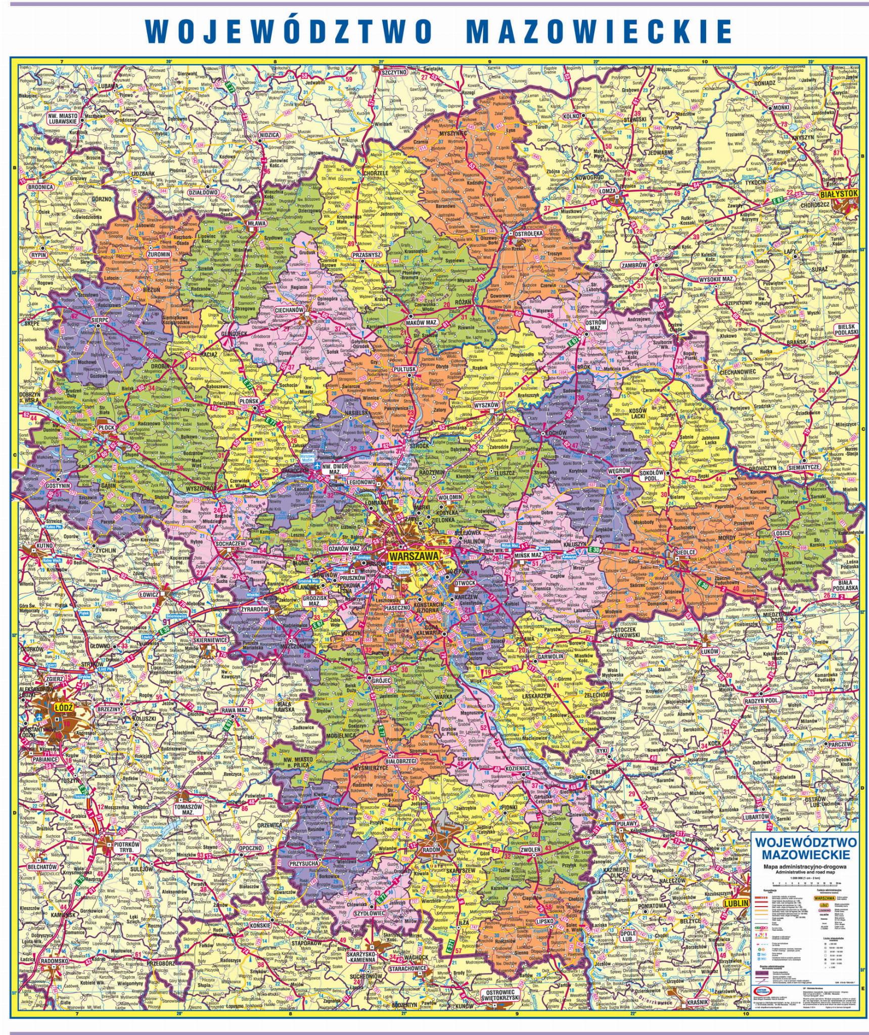 Wojewodztwo Mazowieckie Mapa Drogowo Administracyjna 1 200 000